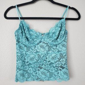 Guess Floral Lace Bralette Turquoise Sky Small